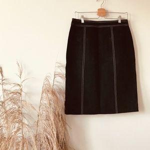 Vintage Skirts - Vintage Top Stitch Suede Skirt